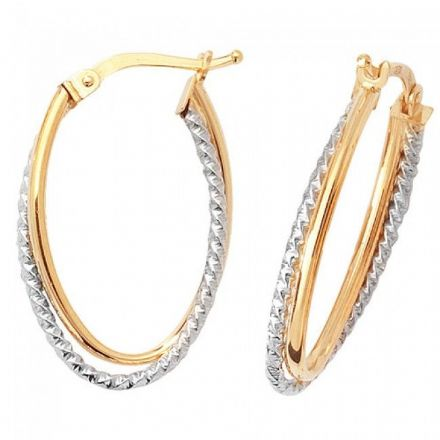 Just Gold Earrings -9Ct 2 Tone Hoop Earrings, ER937